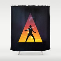 jedi Shower Curtains featuring Jedi Space Triangle by Raisya