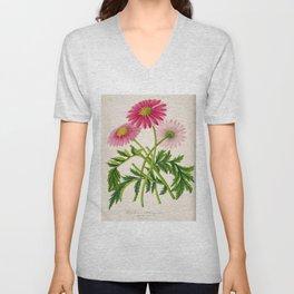 Pyrethrum Delhi Vintage Botanical Floral Flower Plant Scientific Illustration Unisex V-Neck
