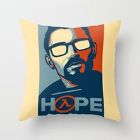 half life Throw Pillows featuring Half Life Hope by The Strynx