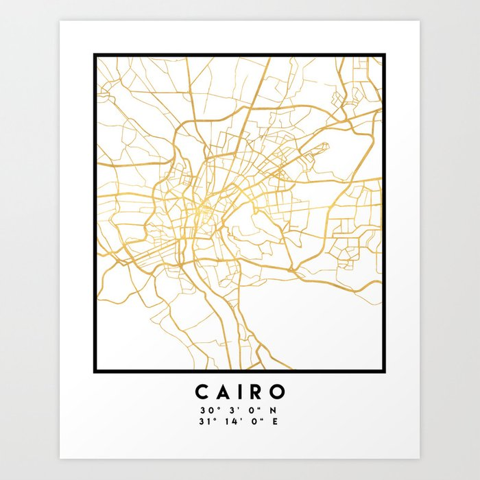 CAIRO EGYPT CITY STREET MAP ART Art Print by deificusart | Society6