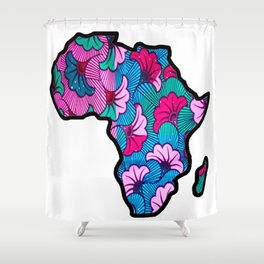 Pink floral Africa Map Shower Curtain