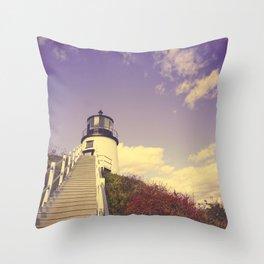 Maine Coast Lighthouse Throw Pillow