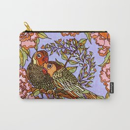 Lovebirds With Peony Wreath Carry-All Pouch