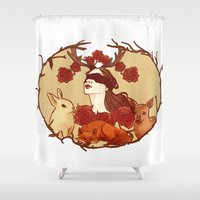fawn Shower Curtains featuring fawn by chazstity