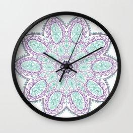 Purple Green Mandala Teal Wall Clock