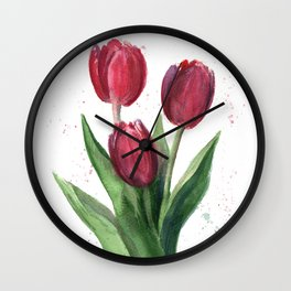 Tulips blooming Wall Clock