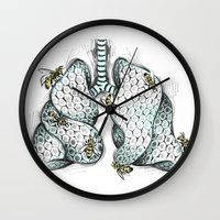 lungs Wall Clocks featuring Honey Lungs by Maia Fjord