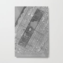 Vintage map of Manhattan Central park in gray Metal Print