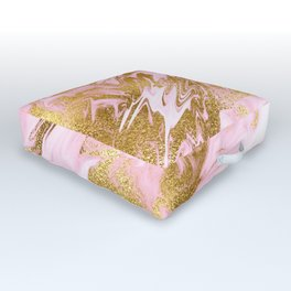 Rose Gold Mermaid Marble Outdoor Floor Cushion