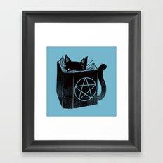 WITCHCRAFT CAT (Blue) Framed Art Print