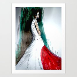 Red And White Evening Dress Art Print