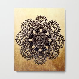 Black Mandala on Gradated Wood Metal Print