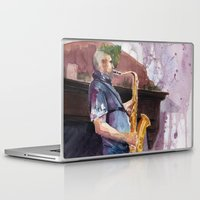 saxophone Laptop & iPad Skins featuring Playing saxophone by aurora villaviejas