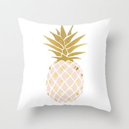 pink & gold pineapple Throw Pillow