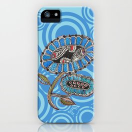 Madhubani - Blue Fish Flower2 iPhone Case