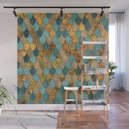 Oceanic Blue Gold Mermaid Scales HJYLY Wall Mural