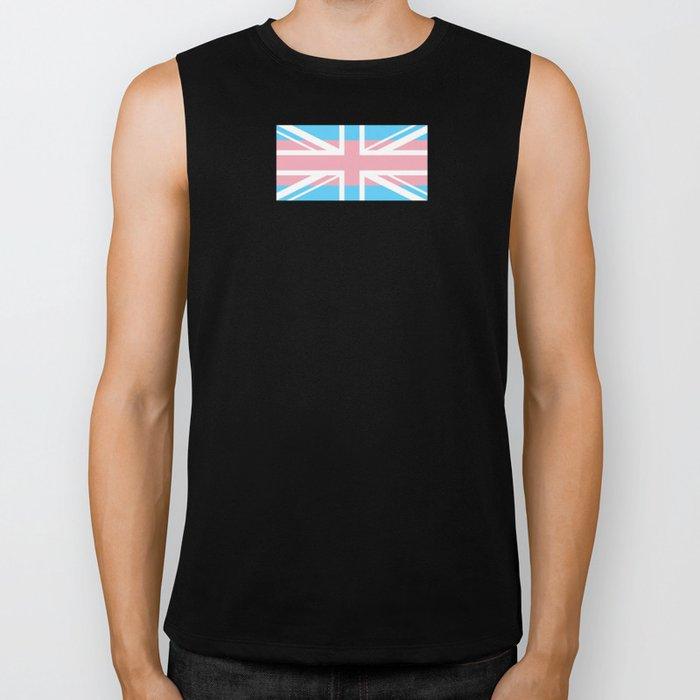 Gay Pride LGBT Trans UK Union Jack Flag Stripes design Biker Tank