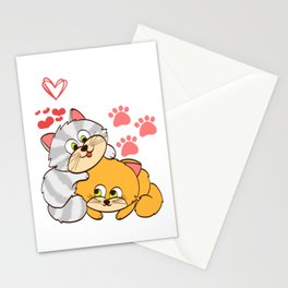 """A Cute Kitty Shirt For Cat Lovers Saying """"I Love Cats"""" Animal Animals T-shirt Design Meow Kitten Paw Stationery Cards"""
