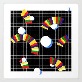 Memphis Grid & Rainbows Art Print