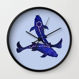 Astrological sign pisces constellation Wall Clock