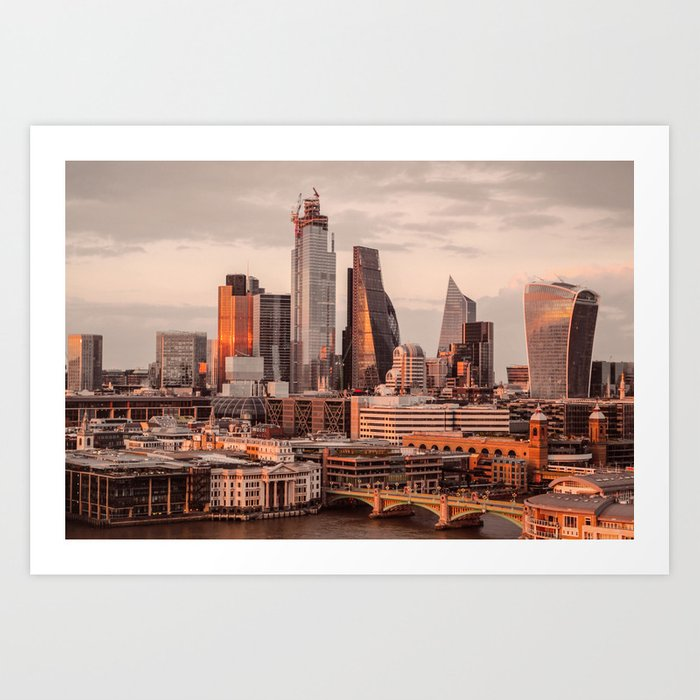 ArtWork London City UK sunset orange Art Print