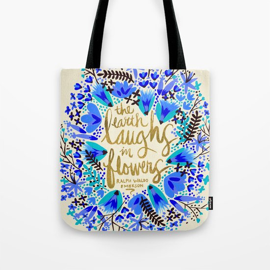The Earth Laughs in Flowers – Gold & Blue Tote Bag