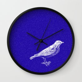 Blue Bird in the Snow Wall Clock