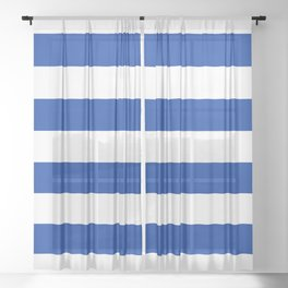Dark Princess Blue and White Wide Horizontal Cabana Tent Stripe Sheer Curtain