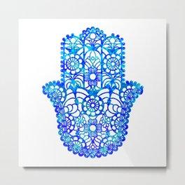 Blue Watercolor Hamsa Metal Print