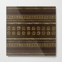 Maya Calendar Glyphs Gold on brown Metal Print