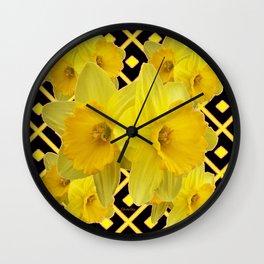 Black & Gold Pattern Daffodils Art Design Wall Clock