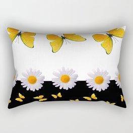 BLACK MODERN ART YELLOW BUTTERFLIES & WHITE DAISIES  ABSTRACT Rectangular Pillow