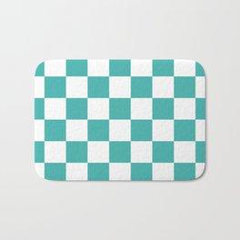 Checkered - White and Verdigris Bath Mat