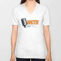 west coast V-neck T-shirts featuring West Coast Talk Radio by Popp Art