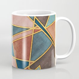 Abstract Desert Mosaic Watercolor with Gold Accents Coffee Mug
