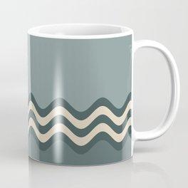 Night Watch & Alpaca Wool Cream Wavy Horizontal Stripes on Juniper Berry & Scarborough Green Coffee Mug