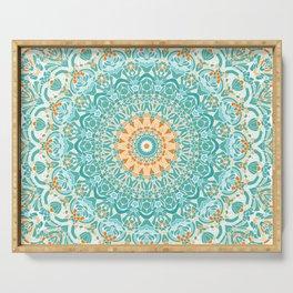 Orange and Turquoise Clarity Mandala Serving Tray
