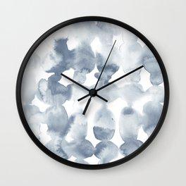 Dye Ovals Blue Fog Wall Clock