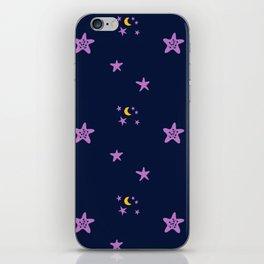 Purple plum violet stars and yellow moon by dark blue night iPhone Skin