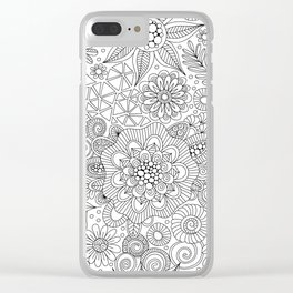 White Doodle Pattern Clear iPhone Case