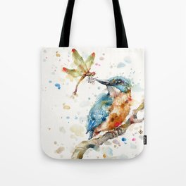 Interesting Relationships (Kingfisher & Dragonfly) Tote Bag