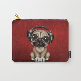Cute Pug Puppy Dj Wearing Headphones and Glasses on Red Carry-All Pouch