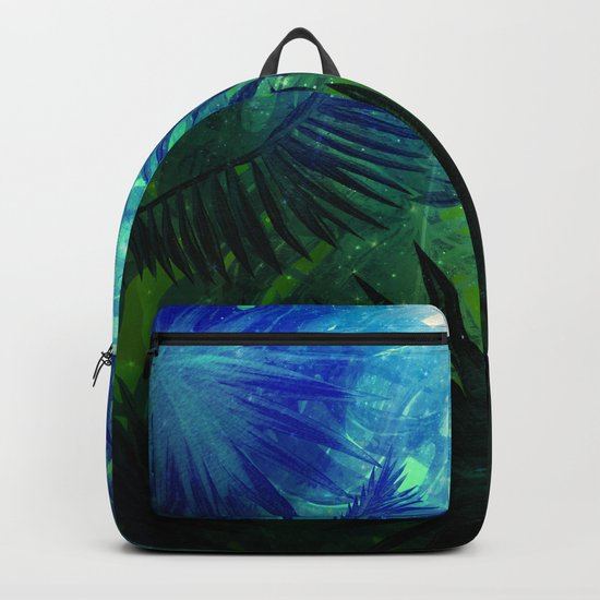 Blue Aloha- Morning Light abstract Tropical Palm Leaves and Monstera Leaf Garden Backpack