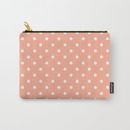 Peach with White Polka Dots Carry-All Pouch