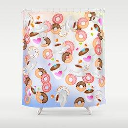 Coffee and Doughnuts En L'air Shower Curtain