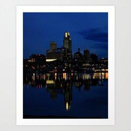 Omaha Skyline at Dusk Art Print