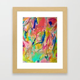 Wild Child: a colorful, vibrant abstract piece in neon and bold colors Framed Art Print