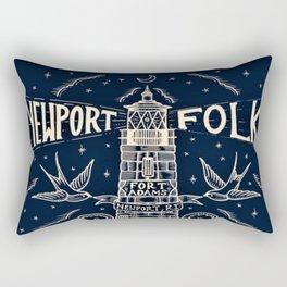 1959 Vintage Newport Folk Festival - Fort Adams, Newport, Rhode Island - Advertising Poster Rectangular Pillow