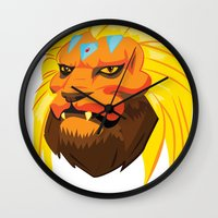 space cat Wall Clocks featuring Space cat by Bleachydrew
