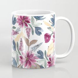 Burgundy Blue Brown Gold Watercolor Fall Flowers Coffee Mug